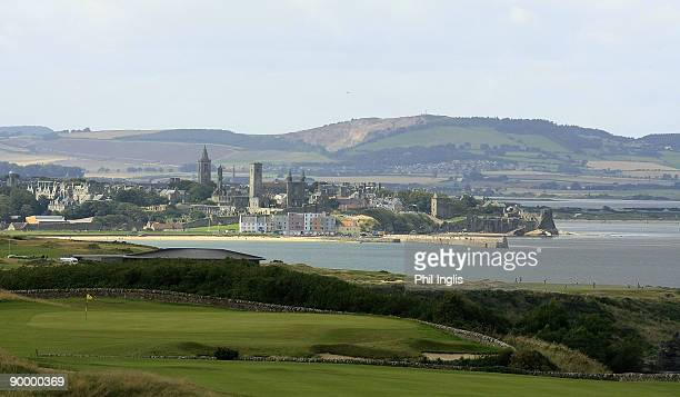 A general view of the course and town of St Andrews in the background during the second round of the Cleveland Golf Srixon Scottish Senior Open...