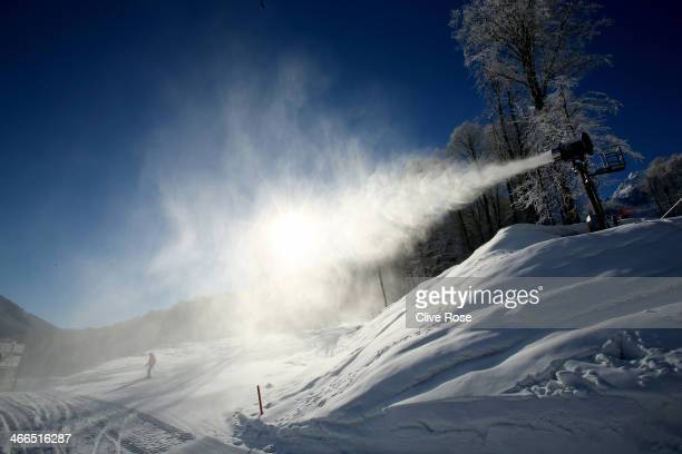 General view of the course area at the Alpine Skiing venue ahead of the Sochi 2014 Winter Olympics at the Rosa Khutor Alpine Center, Mountain Cluster...