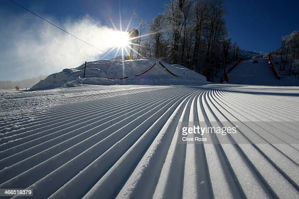 A general view of the course area at the Alpine Skiing venue ahead of the Sochi 2014 Winter Olympics at the Rosa Khutor Alpine Center Mountain...