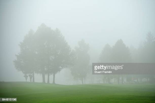 A general view of the course during poor weather conditions during Day Three of the 2017 Omega Masters at CranssurSierre Golf Club on September 9...