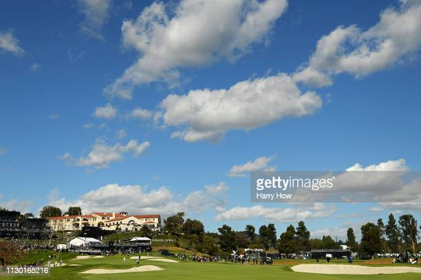 General view of the course during the continuation of the second round of the Genesis Open at Riviera Country Club on February 16, 2019 in Pacific...