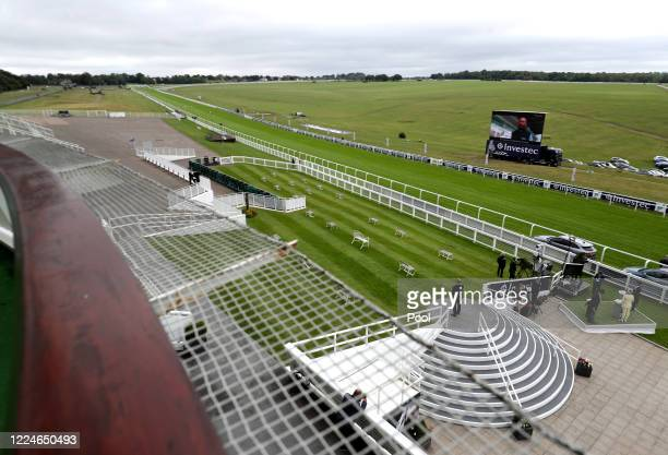 General view of the course from the royal balcony at Epsom Racecourse on July 04, 2020 in Epsom, England. The famous race meeting will be held behind...