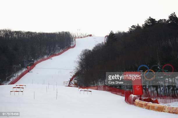 A general view of the course prior to the Alpine Skiing Ladies' Slalom on day five of the PyeongChang 2018 Winter Olympics at Yongpyong Alpine Centre...