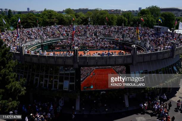 General view of the Court 1 taken from the Philippe Chatrier Court, on day seven of The Roland Garros 2019 French Open tennis tournament in Paris on...