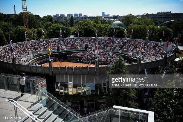 General view of the Court 1 taken from the Philippe Chatrier Court on day seven of The Roland Garros 2019 French Open tennis tournament in Paris on...