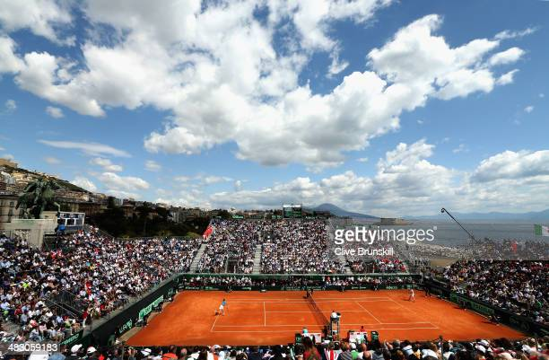 A general view of the court a Tennis Club Napoli showing Andy Murray of Great Britain during his straight sets defeat in the fourth rubber by Fabio...
