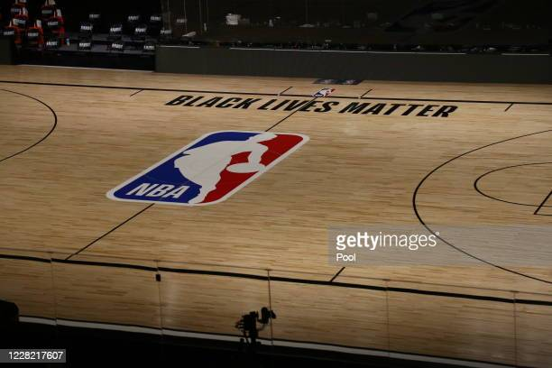 General view of the court after the postponed game five of the first round of the NBA Playoffs between the Oklahoma City Thunder and the Houston...
