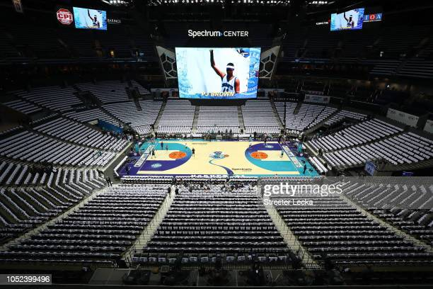 A general view of the court ahead of the Milwaukee Bucks and Charlotte Hornets at Spectrum Center on October 17 2018 in Charlotte North Carolina NOTE...