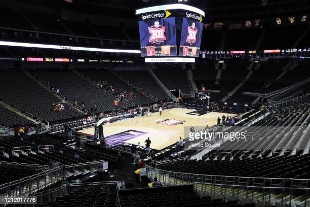 A general view of the court as Big Twelve Tournament games are cancelled at the Sprint Center on March 12 2020 in Kansas City Missouri