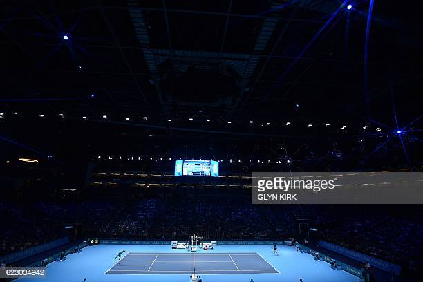 General view of the court as Canada's Milos Raonic plays France's Gael Monfils during their round robin stage men's singles match on day one of the...