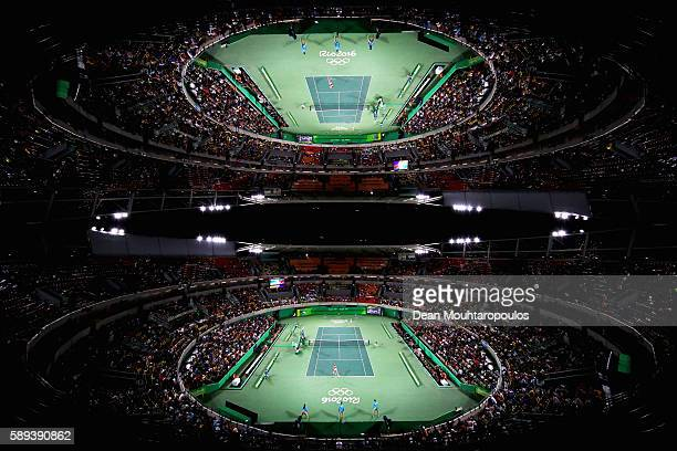 A general view of the court as Monica Puig of Puerto Rico plays against Angelique Kerber of Germany during the Women's Singles Gold Medal Match on...