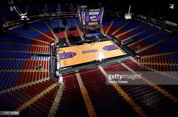 A general view of the court as Sacramento Kings owners Joe and Gavin Maloof shoot around at the newly named Power Balance Pavilion hours before the...