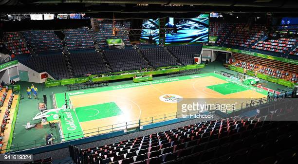 A general view of the court at the Townsville Entertainment Centre ahead of the 2018 Commonwealth Games on April 4 2018 in Townsville Australia