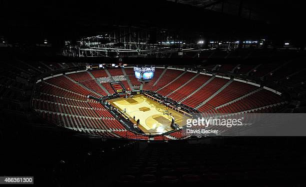 A general view of the court before the championship game of the Mountain West Conference basketball tournament between the Wyoming Cowboys and the...