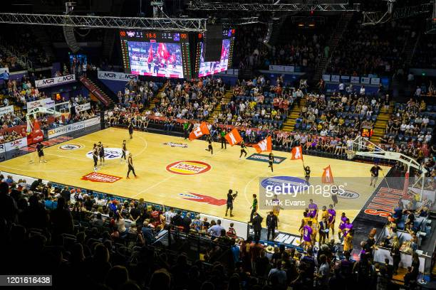General view of the court before the commencement of round 17 NBL match between the Illawarra Hawks and the Sydney Kings at WIN Entertainment Centre...