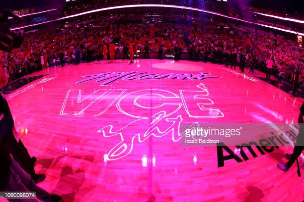 A general view of the court before the game between Miami Heat and Washington Wizards on November 10 2018 at American Airlines Arena in Miami Florida...