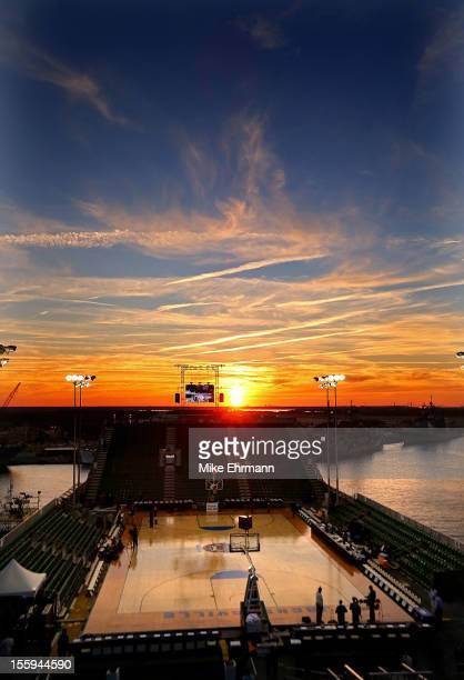 General view of the court before the Navy-Marine Corps Classic between the Florida Gators and the Georgetown Hoyas aboard the USS Bataan at Mayport...