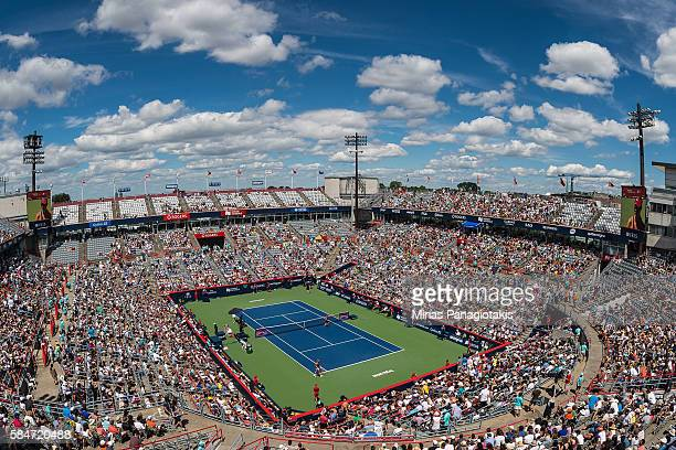 General view of the court between Angelique Kerber and Simona Halep of Romania during day six in semifinal round action of the Rogers Cup at Uniprix...