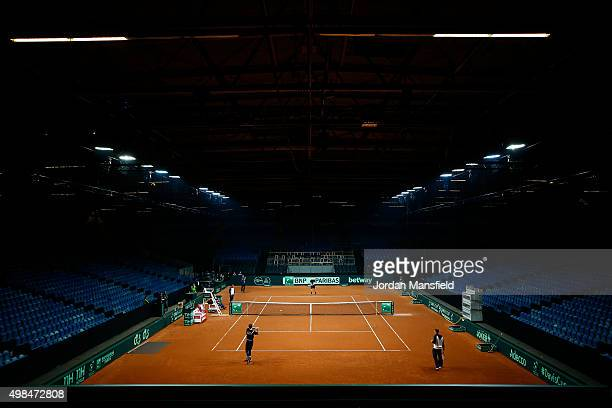 General view of the court during a practice session at Flanders Expo on November 23, 2015 in Ghent, Belgium.