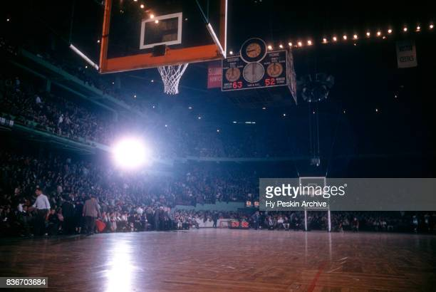 General view of the court during halftime of the Boston Celtics and Philadelphia Warriors game on November 25 1959 at the Boston Garden in Boston...