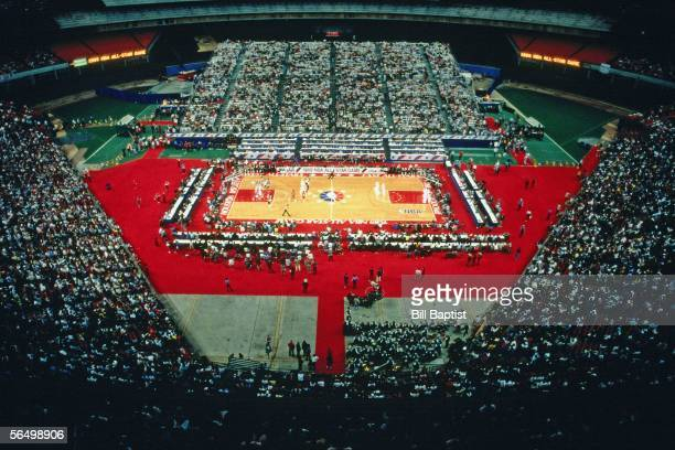 A general view of the court during the 1989 NBA AllStar Game at the Houston Astrodome on February 12 1989 in Houston Texas NOTE TO USER User...
