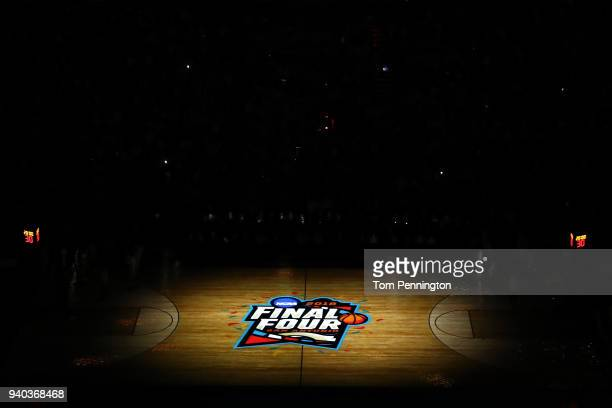 A general view of the court during the 2018 NCAA Men's Final Four Semifinal introductions between the Michigan Wolverines and the Loyola Ramblers at...