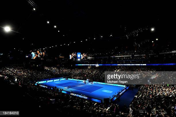 A general view of the court during the Barclays ATP World Tour Finals at the O2 Arena on November 27 2011 in London England