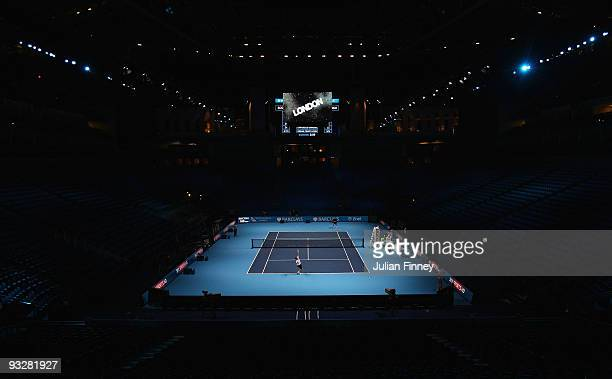 A general view of the court during the Barclays ATP World Tour Finals previews at O2 Arena on November 21 2009 in London England
