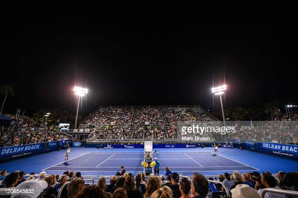 General view of the court during the match between Coco Gauff and Estela Perez-Somarriba at the Delray Beach Open Exhibition at the Delray Beach...