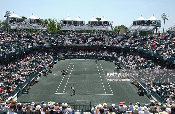 General view of the court during the match between Iva Majoli of Croatia and Sandrine Testud of France during the Family Circle Cup at Family Circle...