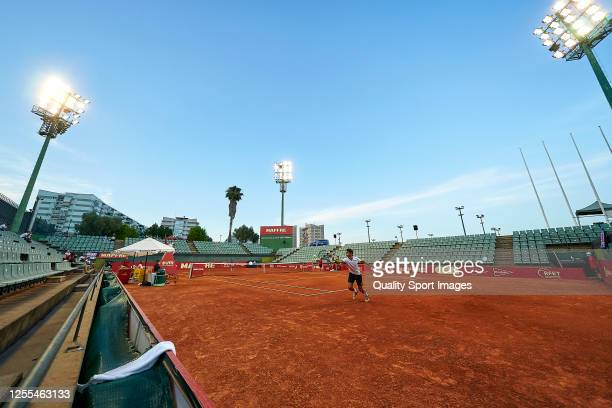 General view of the court during the match between Pablo Carreno and Carlos Taberner of La Liga MAPFRE at Centre Municipal de Tennis Vall d'Hebron on...