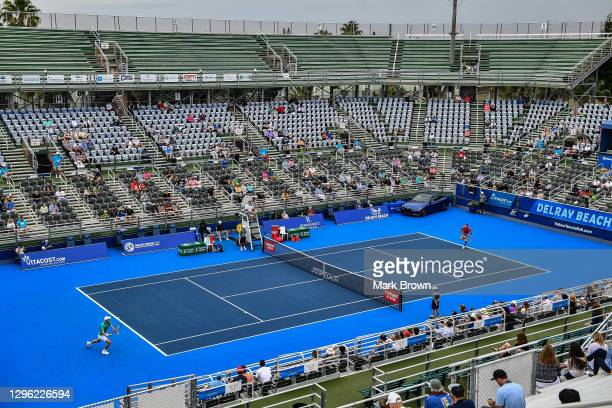 General view of the court during the match between Sebastian Korda and Hubert Hurkacz of Poland during the Finals of the Delray Beach Open by...