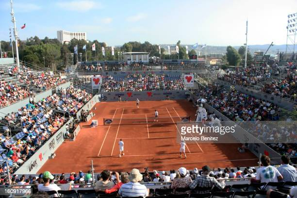 General view of the court during the match played between Rafael Nadal of Spain and Juan Monaco of Argentina against Guillaume Rufin of France and...