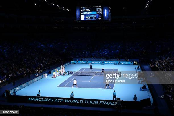 General view of the court during the men's doubles match between Robert Lindstedt of Sweden and Horia Tecau of Romania and Daniel Nestor of Canada...