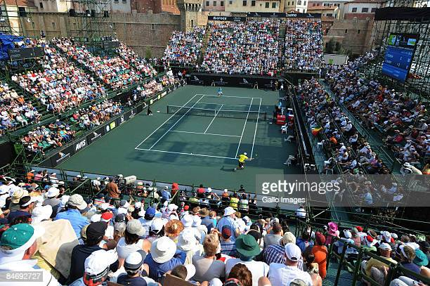 General view of the court during the Mens Singles final between Jo-Wilfried Tsonga of France and Jeremy Chardy of France at the South African Tennis...