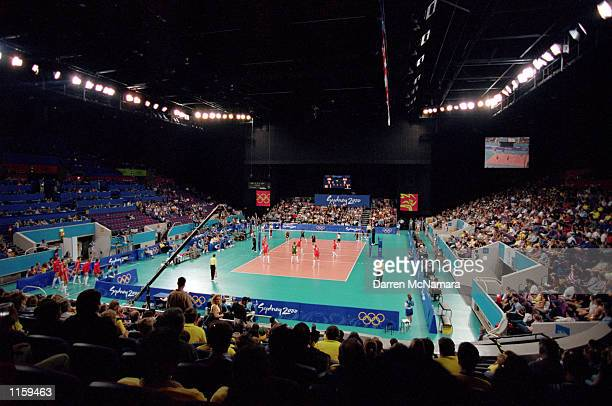 General view of the court during the semifinal match between the United States and Russia during the Olympic Women's Indoor Volleyball competition at...
