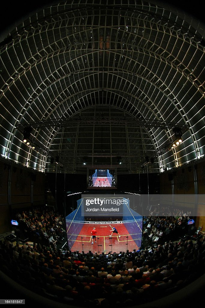 A general view of the court in the East Wintergarden during the quarter-final match between Nick Matthew of England and Stephen Coppinger of South-Africa in the Canary Wharf Squash Classic on March 20, 2013 in London, England.