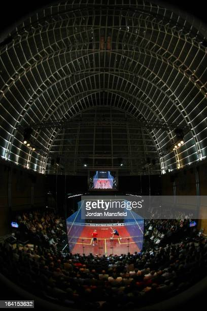 A general view of the court in the East Wintergarden during the quarterfinal match between Nick Matthew of England and Stephen Coppinger of...