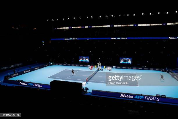 General view of the court inside the empty arena, as no fans are permitted due to Covid-19 as Dominic Thiem of Austria and Stefanos Tsitsipas of...