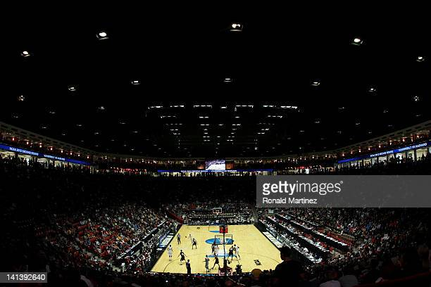 A general view of the court is seen as the Harvard Crimson take on the Vanderbilt Commodores in the first half of the game during the second round of...