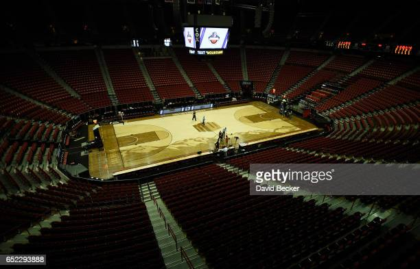 A general view of the court is seen before the championship game of the Mountain West Conference basketball tournament between the Nevada Wolf Pack...