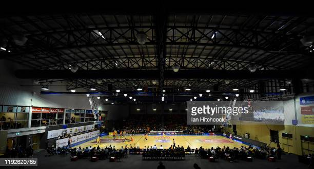 General view of the court is seen during the round eight WNBL match between the Townsville Fire and the Bendigo Spirit at Townsville Stadium on...