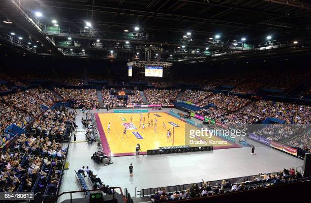 A general view of the court is seen during the round five Super Netball match between the Lightning and the Magpies at Brisbane Entertainment Centre...