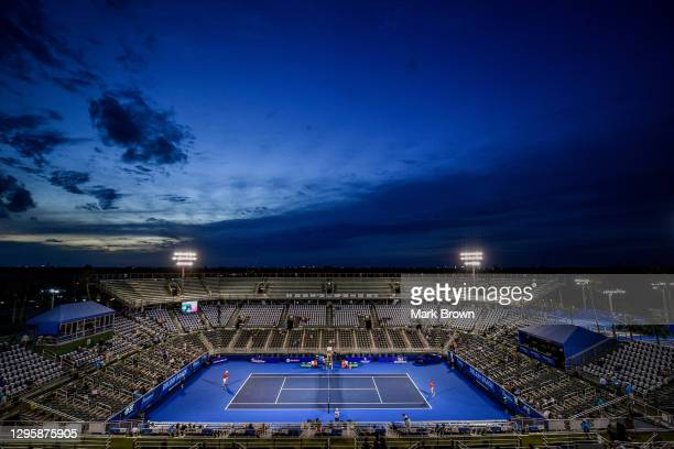 General view of the court prior to the match between John Isner of the United States and Sebastian Korda of the United States during the...
