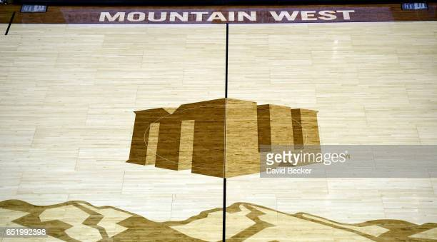 A general view of the court shows the Mountain West Conference logo before the start of the a semifinal game of the Mountain West Conference...