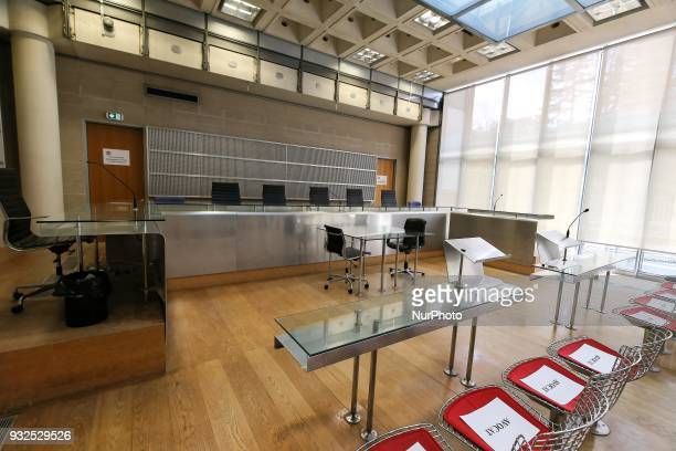 A general view of the courtroom in Nanterre on March 15 where the two older children of iconic French musician Johnny Hallyday are scheduled to claim...