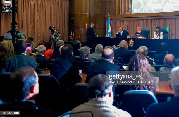 General view of the courtroom of Comodoro Py federal courts in Buenos Aires during the sentencing hearing for crimes committed during Argentina's...
