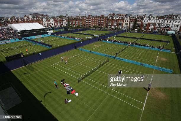 General view of the courts during the qualifying rounds prior to the Fever-Tree Championships at Queens Club on June 16, 2019 in London, United...