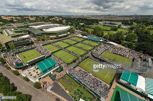 A general view of the courts on day one of the Wimbledon Lawn Tennis Championships at the All England Lawn Tennis and Croquet Club on June 27th 2016...