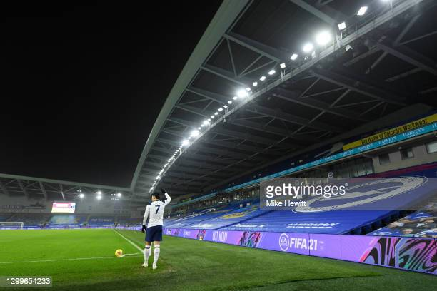 General view of the covered seats inside the stadium as Heung-Min Son of Tottenham Hotspur prepares to take a corner kick during the Premier League...